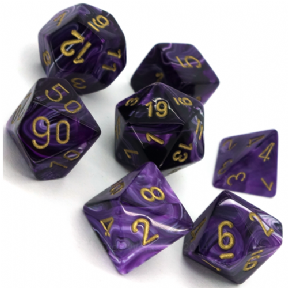 Purple & Gold Vortex Polyhedral 7 Dice Set